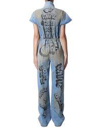 Off-White c/o Virgil Abloh Whole Cotton Denim Suit With Graffiti Print - Blue