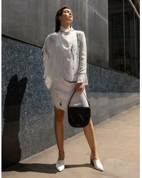 Edward Mongzar Asymmetrical Marbled Silk Satin Dress - White & Grey
