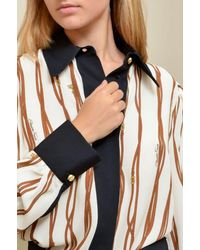 Elisabetta Franchi Camicia Stampa Belt-logo A Contrasto - Brown