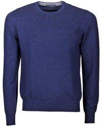 Paolo Fiorillo Capri Cashmere Crew Neck Basic Sweater - Blue