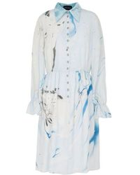 Edward Mongzar Hand Marbled Silk Button Up Dress - Blue & Grey