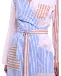 Maison Margiela Beige And Sky Blue Striped Blouse Blanche