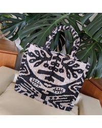 Yunion T Black & Natural Large Silk Velvet Ikat Tote
