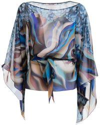Roberto Cavalli Patterned Silk Kaftan - Blue