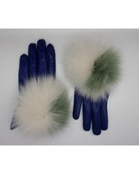 Maison Fabre Leather Gloves With Fur Pompom - Blue