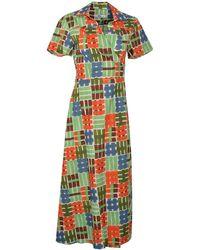 0039 Italy Havana Maxi Wrap Shirt Dress Green & Orange