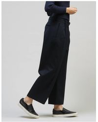 Folk Wide Textured Pants – Navy - Blue