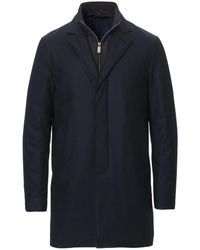 Canali Navy Blue Quilted Wool Overcoat With Detachable Inner O10323