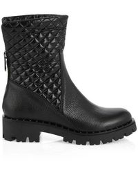 Marc Cain Leather Boot With Quilted Ankle - Black