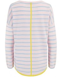 Cocoa Cashmere Striped Tipped Curved Cashmere Jumper Alabster/soft - Pink