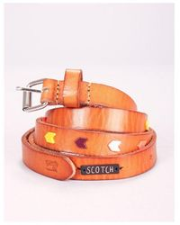 Maison Scotch Skinny Stoned Belt Colour: Tan - Brown