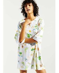 Hayley Menzies Paradise Found Embellished T-shirt Dress - White