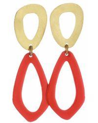 Sibilia Papaya & Brass Cut Out Earrings - Red