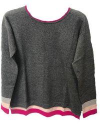 Cocoa Cashmere Cc2228 Ombre Striped Boxy Sweater - Ash / Frida / Cologne - Gray