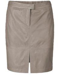 Second Female Roberta Leather Skirt - Concrete - Gray