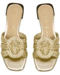 Lola Cruz Finch Gold Leather Slide Sandals - Metallic
