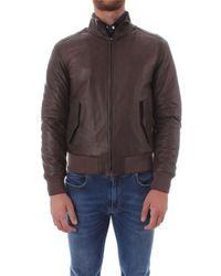 Gran Sasso Men's U10m0031brown Brown Leather Outerwear Jacket