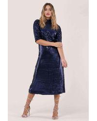 Closet Closet Gold Blue Sequin Kimono Sleeve Dress - D5575