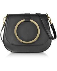 Le Parmentier Women's 037black Black Leather Shoulder Bag