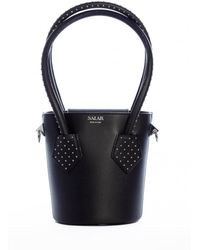 Salar Celia Dots Bucket Bag Black