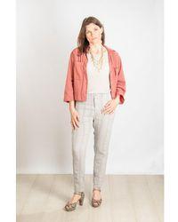 Transit Textured Stripe Pants In Pale Stone - Gray