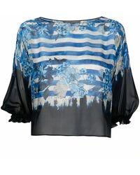 Alberta Ferretti - Women's A020616421288 Blue Silk Blouse - Lyst