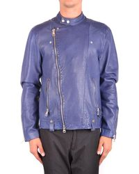 Brian Dales Leather Jacket In Blue