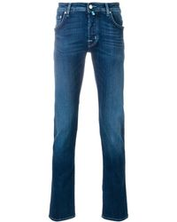 Jacob Cohen - Men's 0918-002 Cream Patch Blue Jeans - Lyst