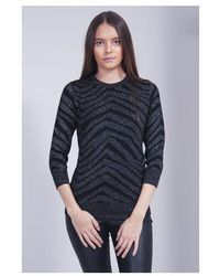 Saint Tropez Animal Shimmer Knit Colour: Black