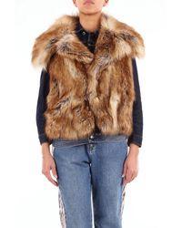 DSquared² Denim Vest With Beige Fur - Brown