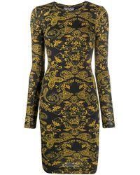 Versace Women's D2hza431s0840899 Gold Polyester Dress - Metallic