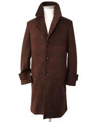 Circolo 1901 Burgundy Check Wool Overcoat Cn2866 - Multicolour