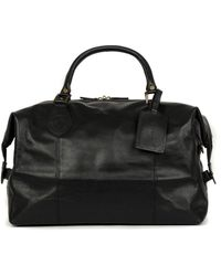Barbour Leather Medium Travel Explorer Bag Black