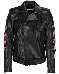 Off-White c/o Virgil Abloh Arrow Printed Leather Jacket - Black