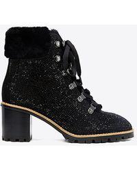 Lola Cruz Black Swarovski Crystals Hiking Ankle Boots