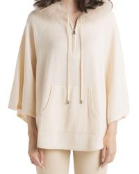Max & Moi Polynesie Feather Hooded Poncho - Natural