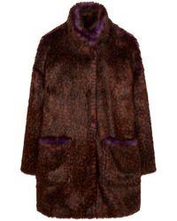 Paul Smith Faux Fur Coat - Brown
