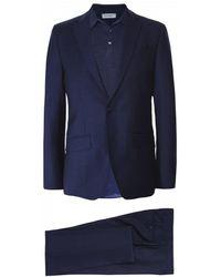 Hackett Wool Glen Check Suit - Blue