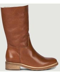 Anthology 7481 Fur-lined Leather High Boots Maine Nappa Cuoio - Brown