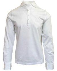 Stenströms Long Sleeve Polo Shirt 010 - White