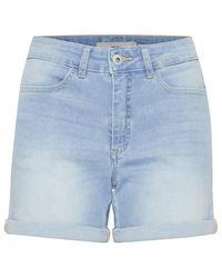 Ichi Twiggy Denim Shorts - Blue