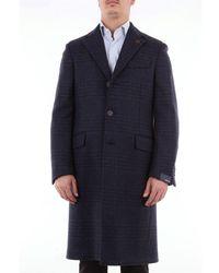 Lardini Single-breasted Checked Wool Coat - Blue