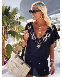 LINDSEY BROWN Paloma Designer Drop Waist Dress - Black