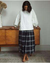 Beaumont Organic Pamela-kay Organic Cotton Skirt In Navy & White Check - Blue