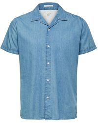 SELECTED Nolan Denim Ss Shirt Light Blue