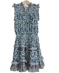 Berenice Rubio Ruffle Cotton Short Dress - Blue
