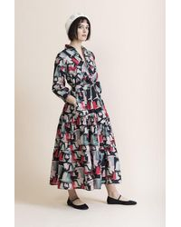 Tallulah & Hope Zip Front Tiered Dress Doves - Multicolour