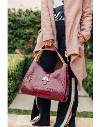 Thale Blanc Empire Cheetah Hobo Bag: Designer Shoulder Bag In Bordeaux Leather - Red