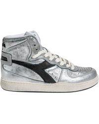 Diadora Silver Leather High Sneakers - Metallic