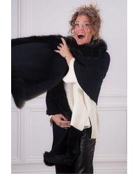 Kinross Cashmere Fur Trim Wrap - Black